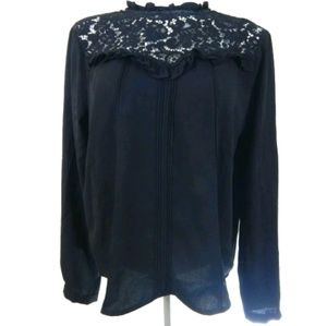Guest Editor Anthro Lace Inset Ruffle Collar Top
